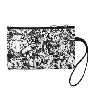 Cute Monsters & Voodoo Dolls in Black & White Change Purse