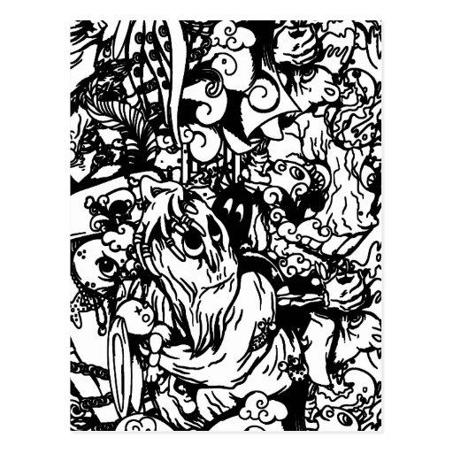 Cute Monsters & Voodoo Dolls in Black & White Postcard
