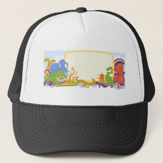 Cute monsters with banner trucker hat