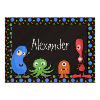 Cute Monsters with Dark Brown Background Poster