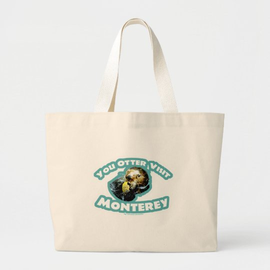 Cute Monterey Otter Travel Large Tote Bag