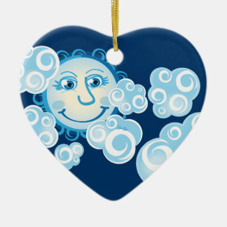 Cute Moon and Clouds - heart ornament
