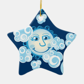 Cute Moon and Clouds - star ornament