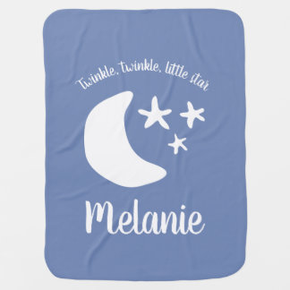 Cute moon and twinkle stars personalized name baby blanket