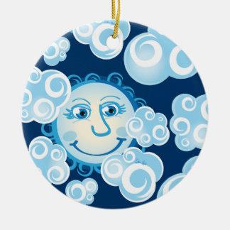 Cute Moon Clouds - circle ornament