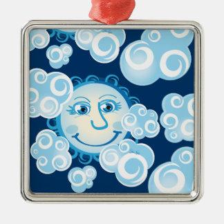 Cute Moon Clouds - square premium ornament