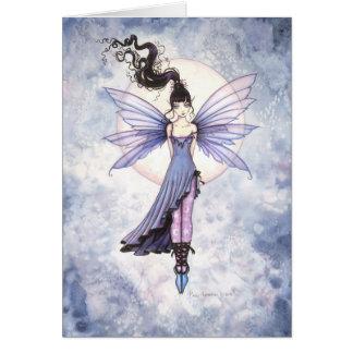 Cute Moon Fairy in Purple and Blue Card
