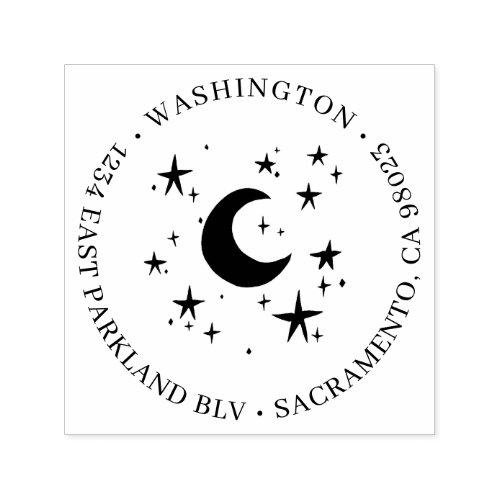Cute Moon  Stars Family Name Return Address Self_inking Stamp