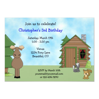 Cute Moose & Cabin Birthday Invitation for Boys