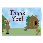 Cute Moose & Cabin Thank You Cards