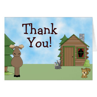 Cute Moose Cabin Thank You Cards