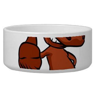 Cute moose cartoon waving. bowl