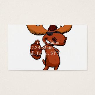 Cute moose cartoon waving. business card