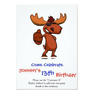 Cute moose cartoon waving. card