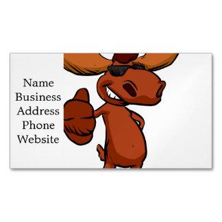 Cute moose cartoon waving. magnetic business card