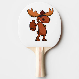 Cute moose cartoon waving. Ping-Pong paddle