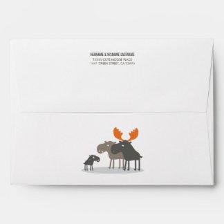 Cute Moose Couples Baby Shower Envelope
