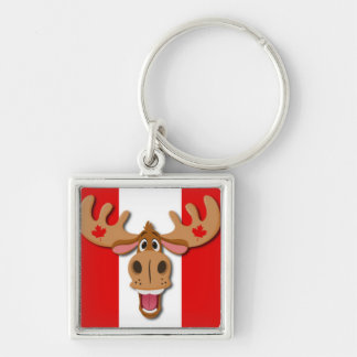 Cute Moose on Red and White Background Silver-Colored Square Keychain