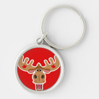 Cute Moose on Red Background Silver-Colored Round Keychain