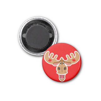 Cute Moose on Red Background Fridge Magnets
