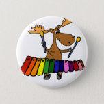 Cute Moose Playing Xylophone Cartoon Pinback Button