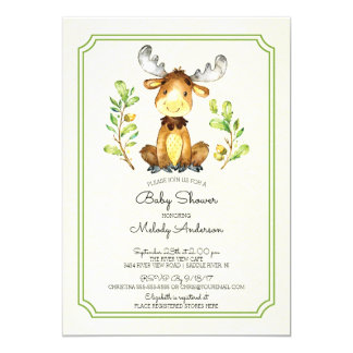 Cute Moose Woodland Baby Shower Invitation