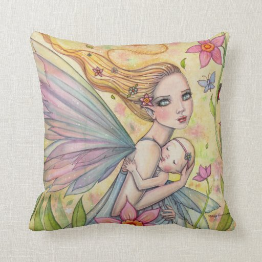 Cute Pillow Illustration : Cute Mother and Baby Girl Fairy Illustration Throw Pillow Zazzle