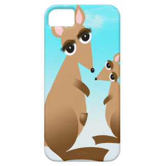 Cute mother and baby kangaroo iPhone 5 case