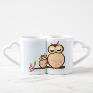 Cute mother and baby owl coffee mug set
