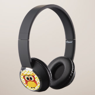 Cute mother and baby owl on a chevron background headphones