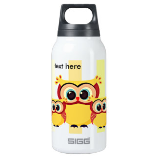 Cute mother and baby owl on a chevron background insulated water bottle