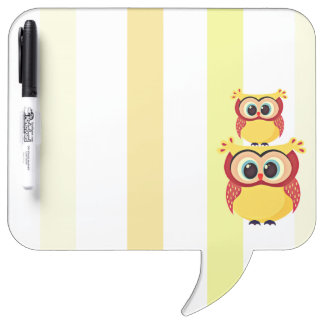 Cute mother and baby owl on a stripes background dry erase board