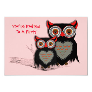 Cute Mother and Baby Owl Theme Card