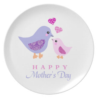 Cute mother and child birds mother s day party plates