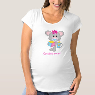 Cute Mother Baby Expecting Girl Mouse Maternity T-Shirt