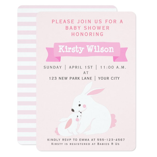 Cute Mother & Baby Girl Bunny | Baby Shower