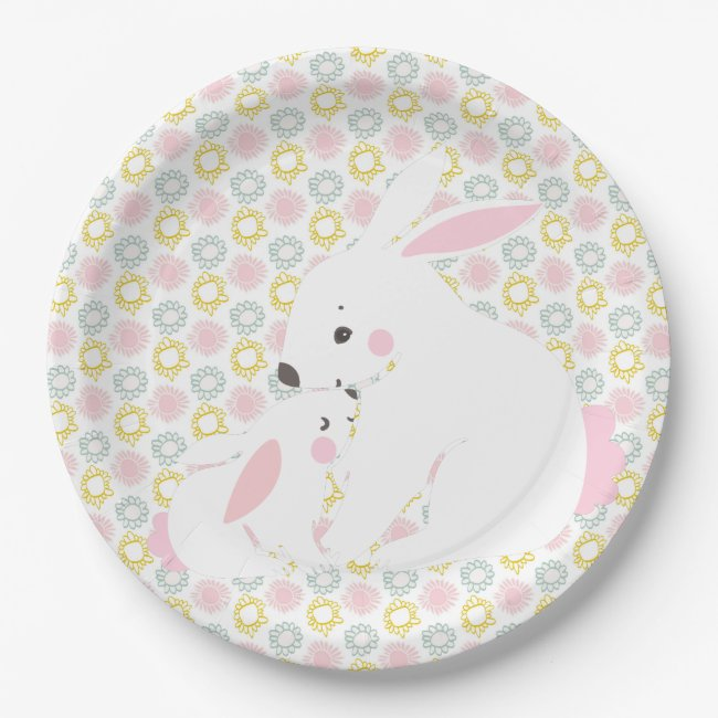 Cute Mother & Baby Girl Bunny Baby Shower