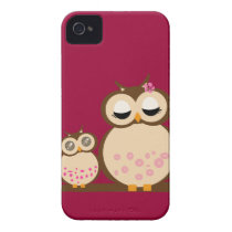 Cute Mother & Baby Owl iPhone 4 Cover