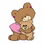 cute mother bear hugging baby bear design cut out