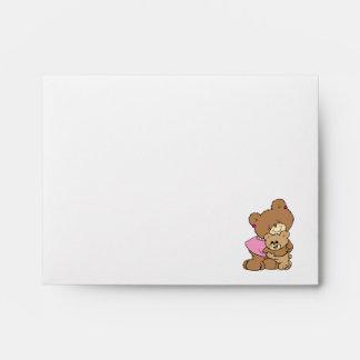 cute mother bear hugging baby bear design envelope