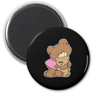 cute mother bear hugging baby bear design magnet