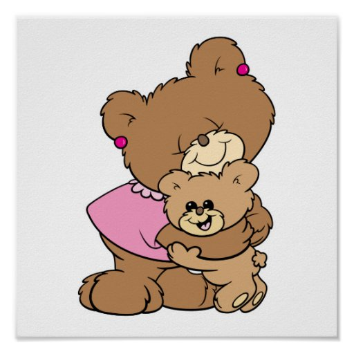 cute mother bear hugging baby bear design poster
