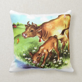 Cute Mother Cow & Baby Calf Vintage Storybook Art Pillow