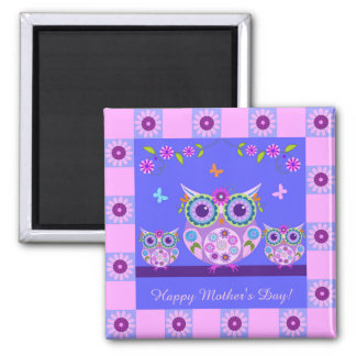 Cute Mother owl with baby owls custom text Magnet