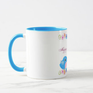 Cute Motherday's day mug Cartoon twin baby birds
