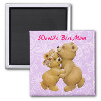 Cute Mothers Day Dancing Teddy Bears 2 Inch Square Magnet