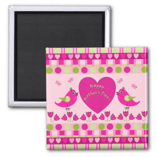 Cute Mother's day Magnet with birds, hearts, text