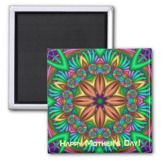 Cute Mother's day Magnet with Fantasy flower & tex