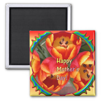 Cute Mother's day magnet with Tulips