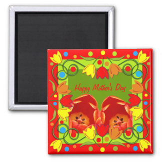 Cute Mother's day magnet with tulips & text